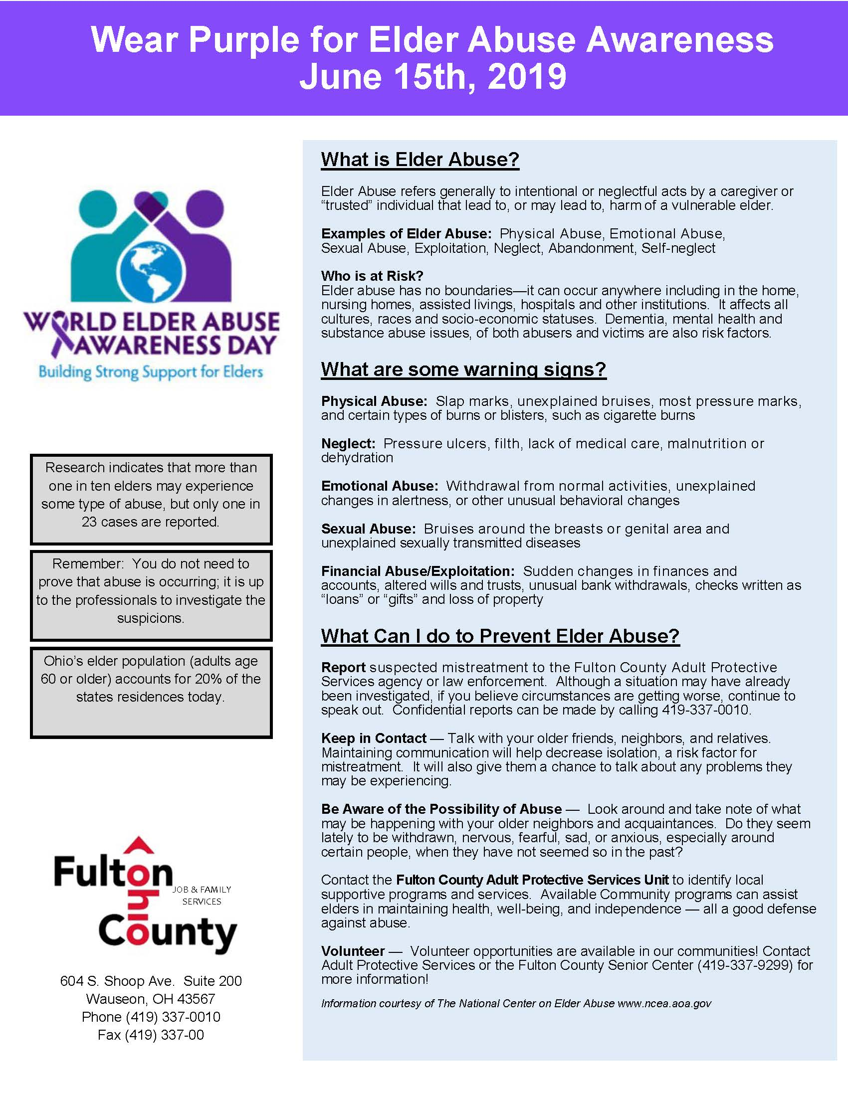 Elder Abuse Awareness Day Fact Sheet