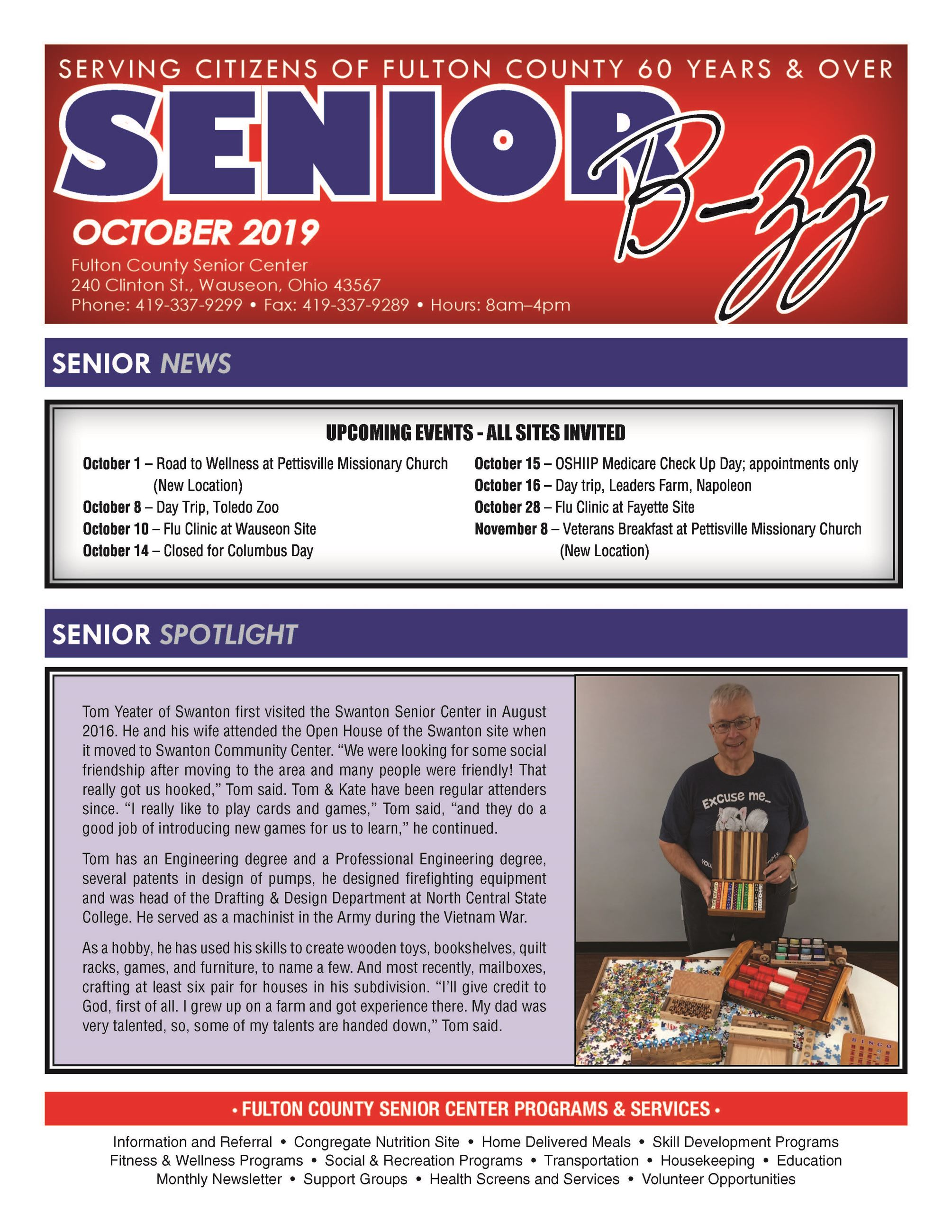 Front Page of October 2019 Senior B-zz