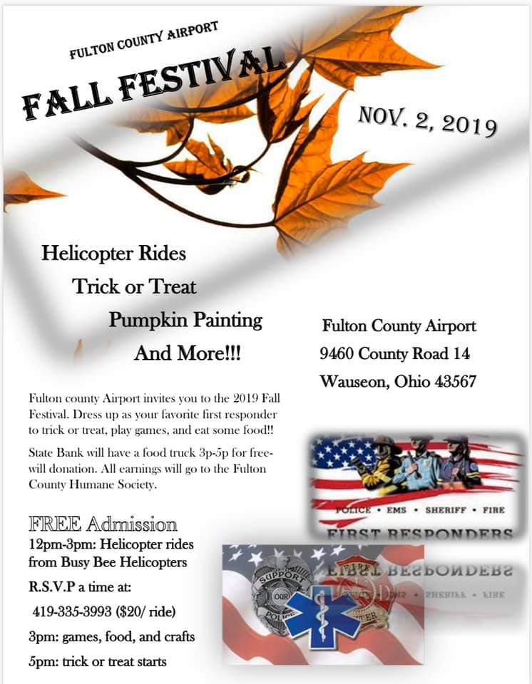 Fulton County Airport Fall Fest.  Nov 3 at the Fulton County Airport, 3PM to 6PM