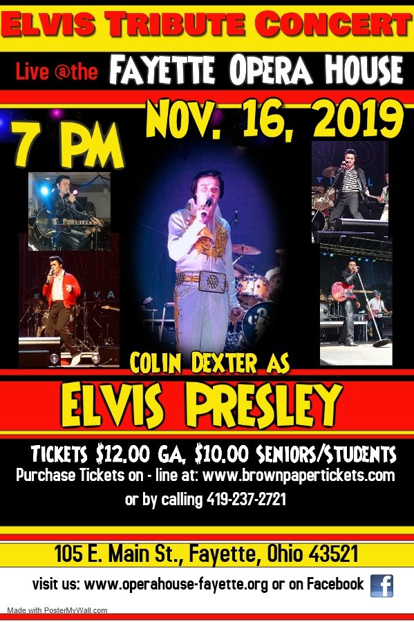 Elvis Tribute by Colin at Fayete Opera House, Nov 16th at 7 PM