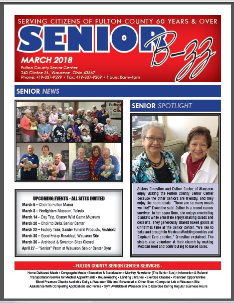 Front page of March 2018 Senior B-zz