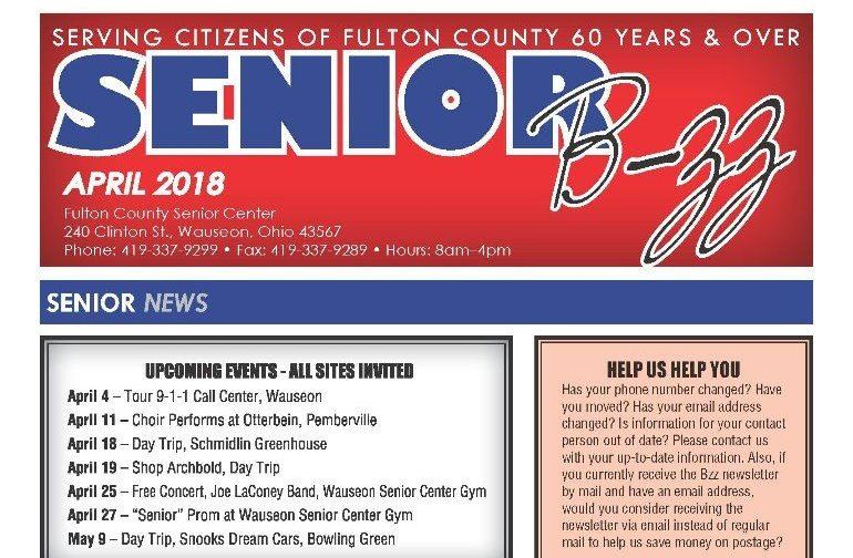 April 2018 Senior B-zz Newsletter Cover