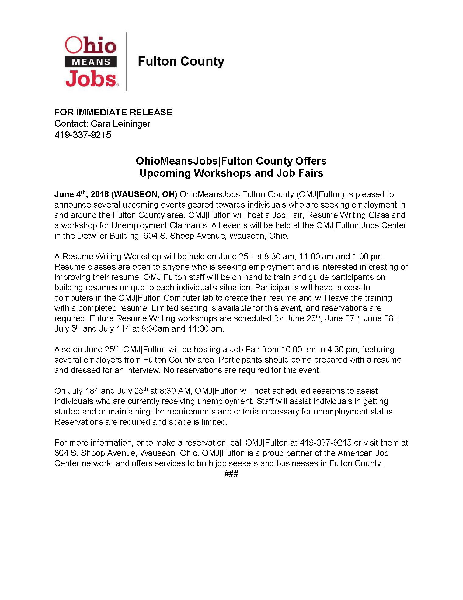 OhioMeansJobs|Fulton Resume Writing and Workshops Press Release