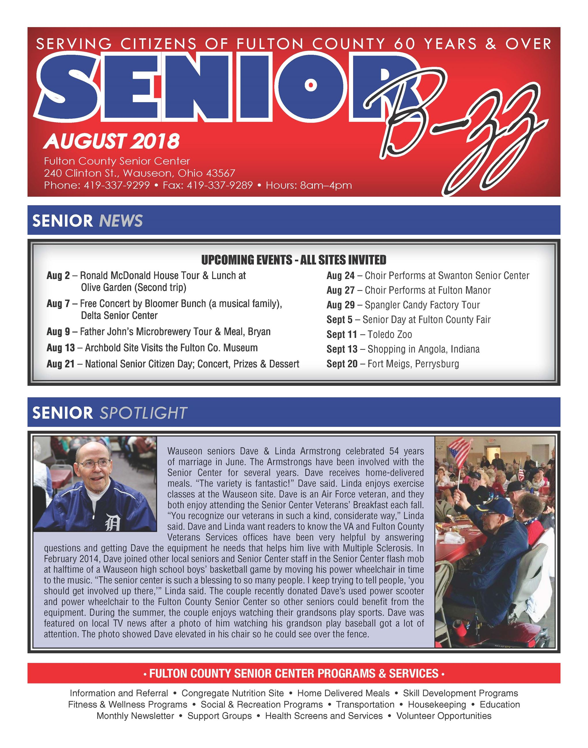 Front page of the August 2018 Senior B-zz