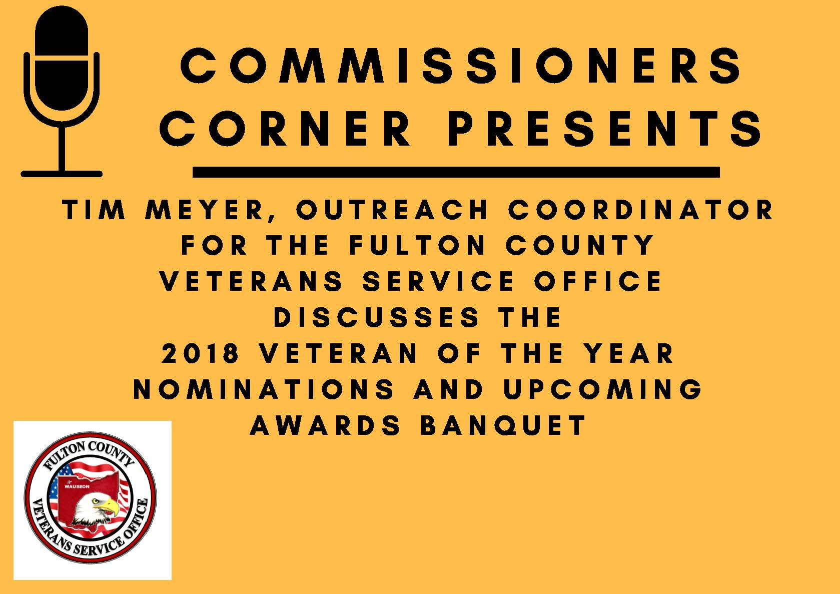 Commissioners Corner Veteran of the Year Banquet Announcement