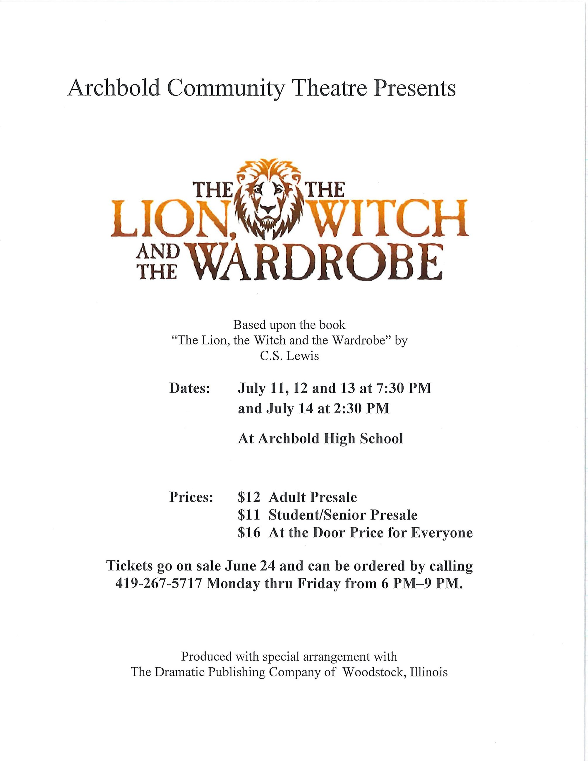 ACT presents: Lion, the Witch and the Wardrobe, July 20, 21 & 22